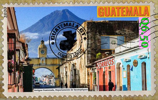 antigua guatemala, sello postal 2020