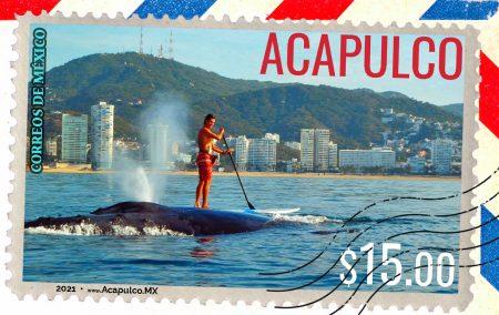 Acapulco, Cartel de turismo, sello postal, estampilla, mexico