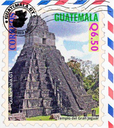 Templo del jaguar, Tikal, Petén, Guatemala, sello, estampilla
